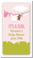 Clothesline It's A Girl - Custom Rectangle Baby Shower Sticker/Labels
