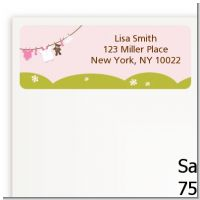 Clothesline It's A Girl - Baby Shower Return Address Labels