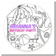 Color You Own - Beach Scene - Round Personalized Birthday Party Sticker Labels thumbnail
