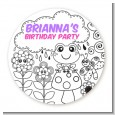 Color Your Own - Spring Garden - Round Personalized Birthday Party Sticker Labels thumbnail