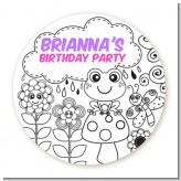 Color Your Own - Spring Garden - Round Personalized Birthday Party Sticker Labels
