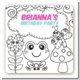Color Your Own - Spring Garden - Square Personalized Birthday Party Sticker Labels thumbnail