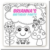 Color Your Own - Spring Garden - Square Personalized Birthday Party Sticker Labels