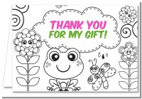 Color Your Own - Spring Garden - Birthday Party Thank You Cards