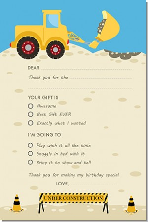 Construction Truck - Birthday Party Fill In Thank You Cards
