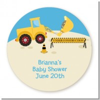 Construction Truck - Round Personalized Baby Shower Sticker Labels