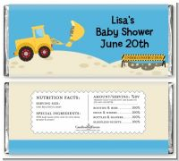 Construction Truck - Personalized Baby Shower Candy Bar Wrappers