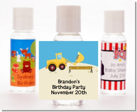 Construction Truck - Personalized Birthday Party Hand Sanitizers Favors