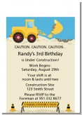 Construction Truck - Birthday Party Petite Invitations