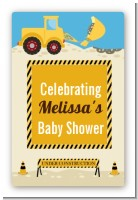 Construction Truck - Custom Large Rectangle Baby Shower Sticker/Labels