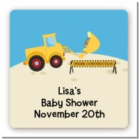 Construction Truck - Square Personalized Baby Shower Sticker Labels