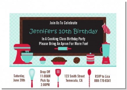 Cooking Class - Birthday Party Petite Invitations
