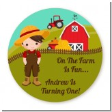 Country Boy On The Farm - Round Personalized Birthday Party Sticker Labels
