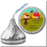 Country Boy On The Farm - Hershey Kiss Birthday Party Sticker Labels