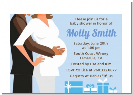 Couple Expecting Boy - Baby Shower Petite Invitations
