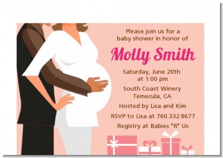 Couple Expecting Girl - Baby Shower Petite Invitations