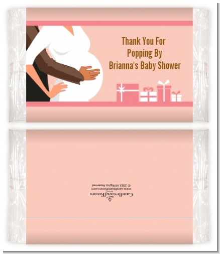 Couple Expecting Girl - Personalized Popcorn Wrapper Baby Shower Favors