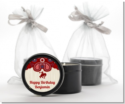 Cowboy Rider - Birthday Party Black Candle Tin Favors