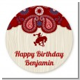 Cowboy Rider - Round Personalized Birthday Party Sticker Labels thumbnail