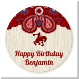 Cowboy Rider - Round Personalized Birthday Party Sticker Labels