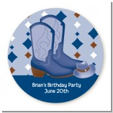 Cowboy Western - Round Personalized Birthday Party Sticker Labels
