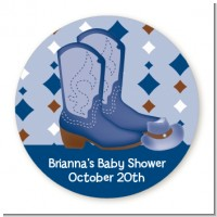 Cowboy Western - Round Personalized Baby Shower Sticker Labels