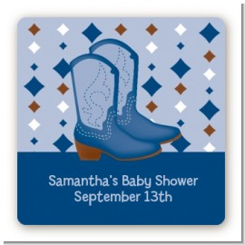 Cowboy Western - Square Personalized Baby Shower Sticker Labels