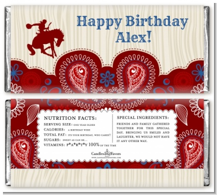 Cowboy Rider - Personalized Birthday Party Candy Bar Wrappers