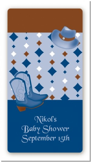 Cowboy Western - Custom Rectangle Baby Shower Sticker/Labels