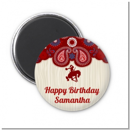 Cowgirl Rider - Personalized Birthday Party Magnet Favors