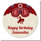 Cowgirl Rider - Round Personalized Birthday Party Sticker Labels