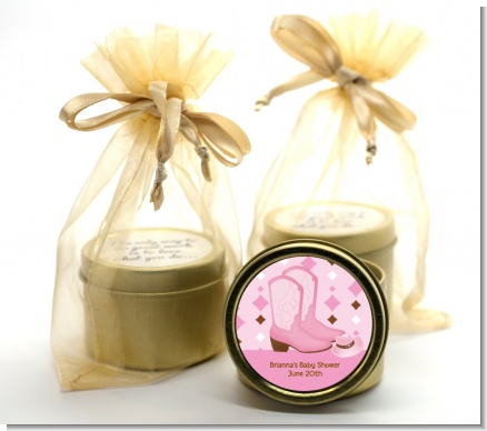Cowgirl Western - Birthday Party Gold Tin Candle Favors