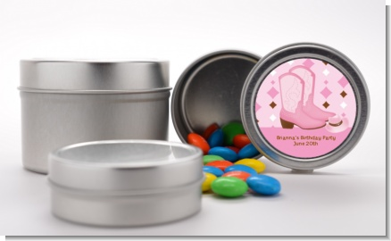 Cowgirl Western - Custom Baby Shower Favor Tins
