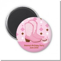 Cowgirl Western - Personalized Baby Shower Magnet Favors