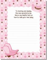 Cowgirl Western - Baby Shower Notes of Advice