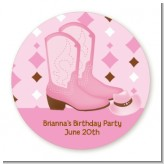 Cowgirl Western - Round Personalized Birthday Party Sticker Labels