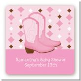 Cowgirl Western - Square Personalized Baby Shower Sticker Labels