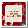 Cowgirl Rider - Square Personalized Birthday Party Sticker Labels thumbnail