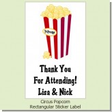 Circus Popcorn - Custom Rectangle Birthday Party Sticker/Labels