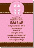 Baby Feet Pitter Patter Pink - Baby Shower Invitations