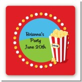 Circus Popcorn - Square Personalized Birthday Party Sticker Labels