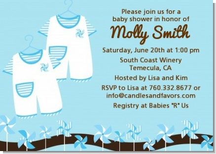 twin little boy outfits baby shower invitations | candles and favors, Baby shower invitations