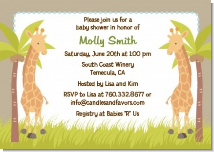 Twin Giraffes - Baby Shower Invitations