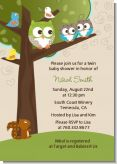 Owl - Look Whooo's Having Twins - Baby Shower Invitations