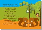 Forest Animals Twin Squirels - Baby Shower Invitations