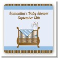 Crib Blue - Square Personalized Baby Shower Sticker Labels thumbnail