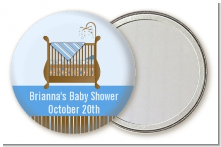 Crib Blue - Personalized Baby Shower Pocket Mirror Favors