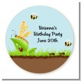 Critters Bugs & Insects - Round Personalized Birthday Party Sticker Labels thumbnail