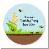 Critters Bugs & Insects - Round Personalized Birthday Party Sticker Labels