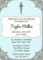 Cross Blue & Brown - Baptism / Christening Invitations